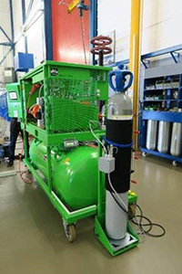 g3 cylinder being warmed-up using g3 dedicated service cart